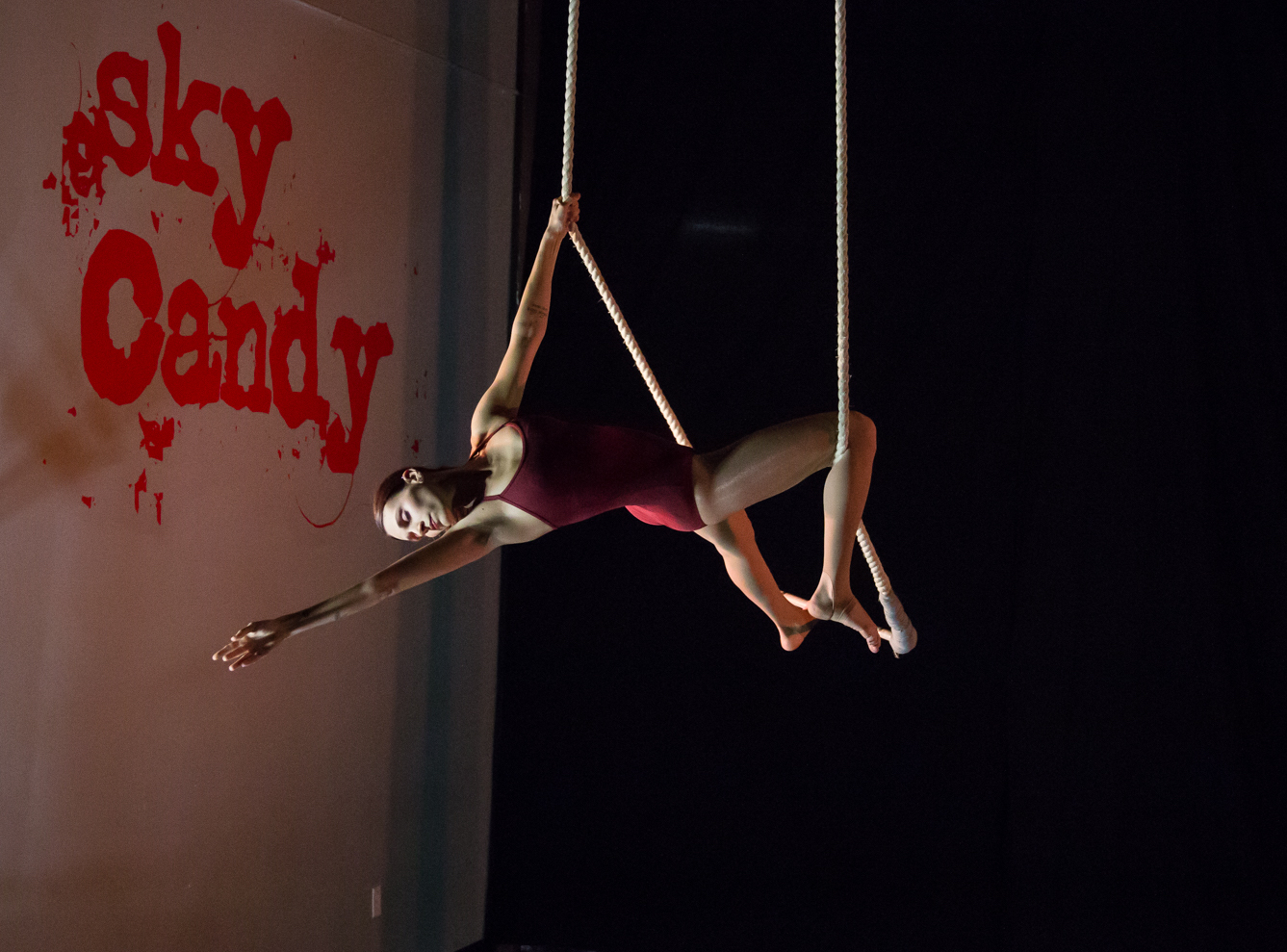 Shohreh performs a move called Susan on the static trapeze, her personal favorite form of joyful movement